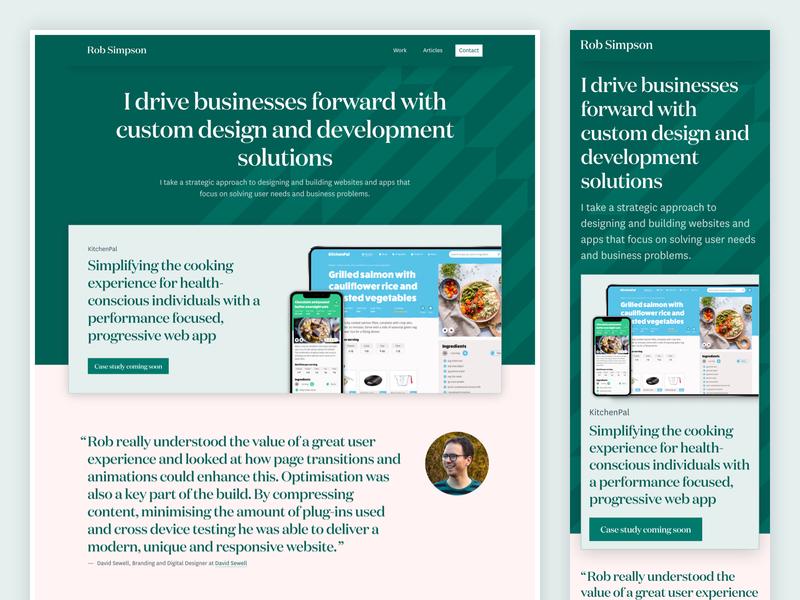 Rob Simpson Home Page web design portfolio website testimonial work case studies services portfolio
