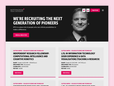Nottingham Trent University Campaign Job Listing Page
