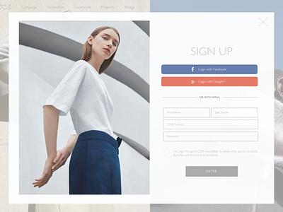 COS Sign Up - DAILYUI#001 fashion signup signupform minimalism uidesign cos dailyui dailyui 001