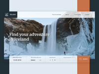 Landing page for an Icelandic tour site