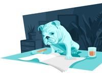 Office dog for office blog - Illustration