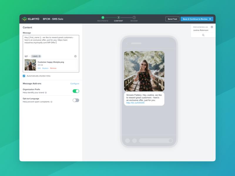 Klaviyo SMS Builder input cards mobile web app web apps webdesign builder content builder mms sms marketing