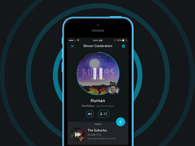 Music Player - Qup music player queue ios design ui ux party playlist now playing songs material design