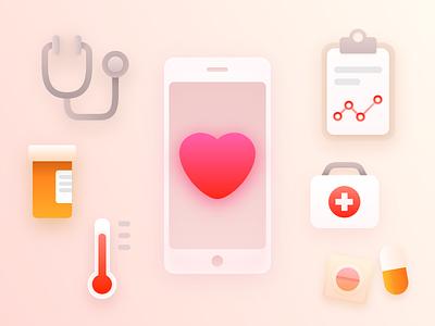 Digital Healthcare Landscape healthcare chart pills heart wellness health