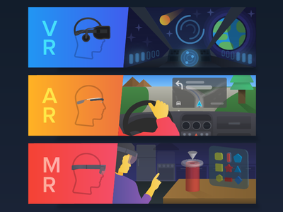 Virtual Reality, Augmented Reality and Mixed Reality  mr ar vr technology illustration augmented reality mixed reality virtual reality