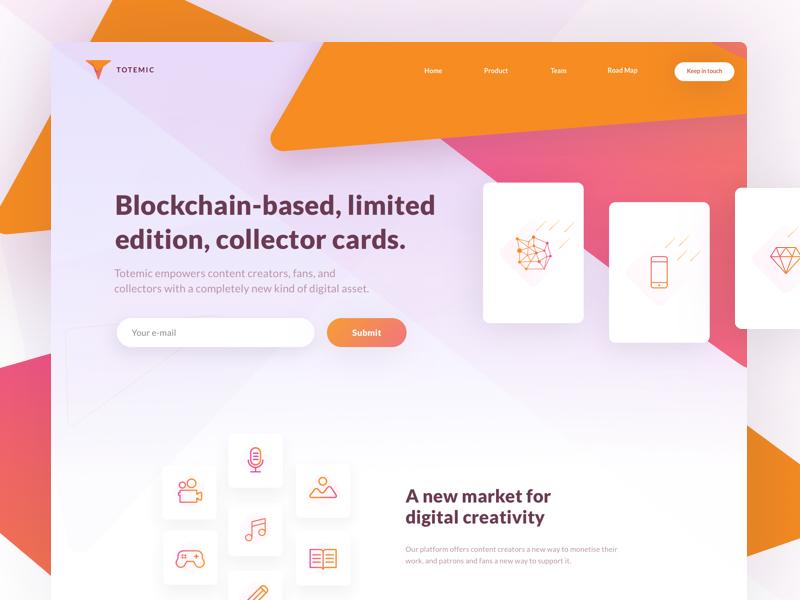 Totemic- Landing Page blockchain ux ui landing page