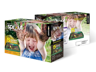 Sprouts box concept garden tools kids line package design