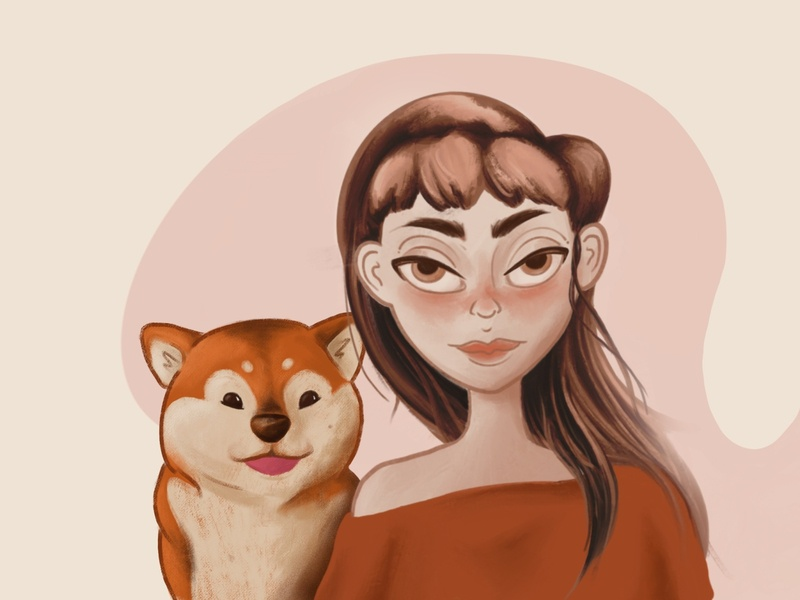 Shiba Eternal shiba inu illustration procreate art pet puppy muted colors brunette egirl digital illustration digital art digital painting character character design terracotta pastel pet illustration pet dog illustration dog procreate app procreate
