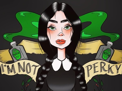 I'm Not Perky hand drawn type digital art design tattoo ink ink art female designers female character illustrator photoshop witchcraft poison im not perky wednesday wednesday addams character art illustration horror movie horror addams family