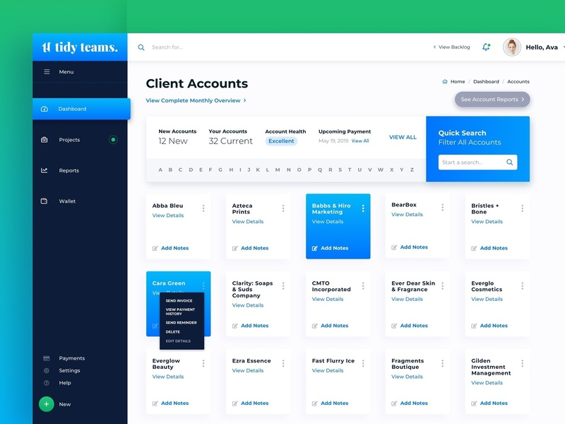 Client Management Dashboard Design interface design a-z filter web design dashboard ui gradient blue dashboard design dashboard web app light design light dashboard management tool management system jangucreates ui ux digital design ux user interface user experience
