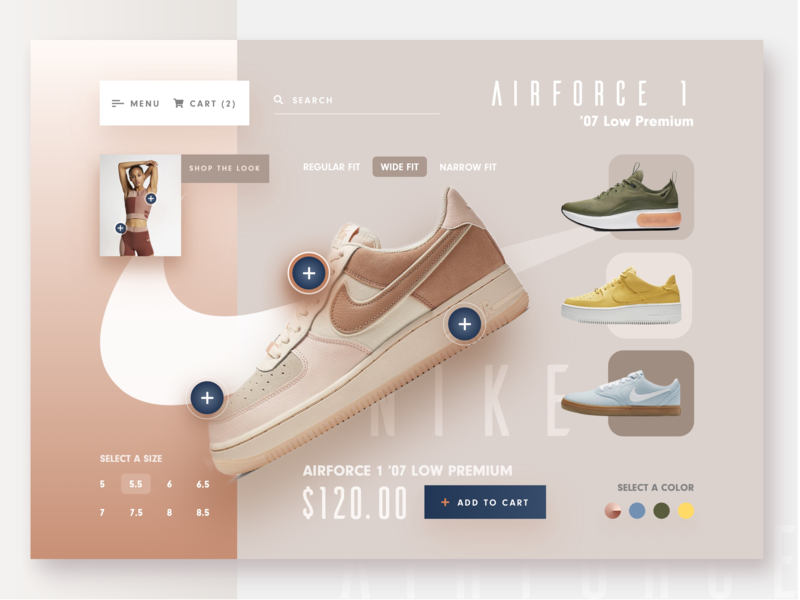 Nike Interactive E-Commerce Concept athletic desktop interface design nike nike air max interaction design interactive checkout shopping cart cart web experience shopping app shoe design ecommerce design ecommerce website ui ux ux user interface user experience
