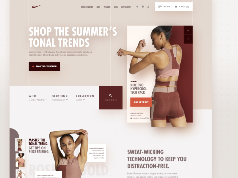 Nike Women's Landing Page – Website Redesign Concept search bar web design user interface website concept website interface design user experience terracotta earth tones redesign pastel colors rose gold shopping ecommerce ux design ui design jangucreates activewear athletic branding nike