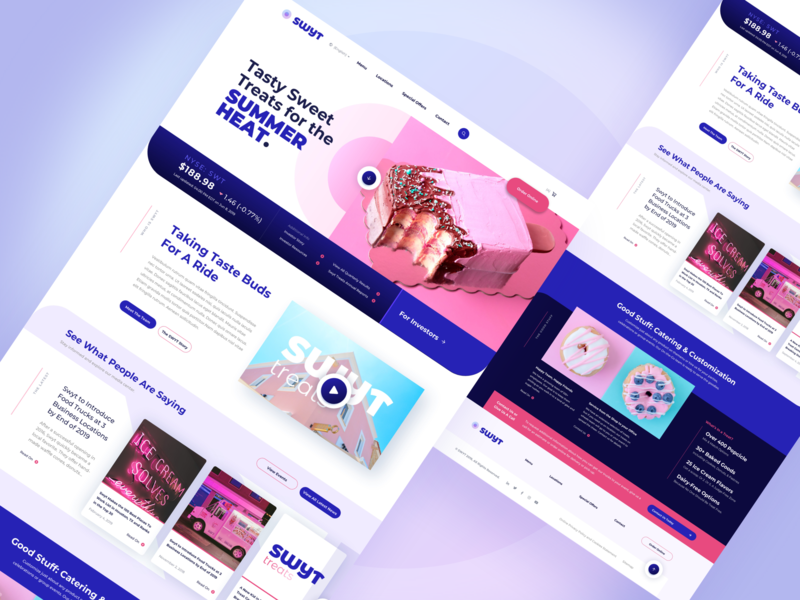 Pastel Dessert Website Concept sketchapp sketch ux designer gradient video player donut shopping popsicle purple pink pastel website design website concept web design website ui ux interface design ux user interface user experience