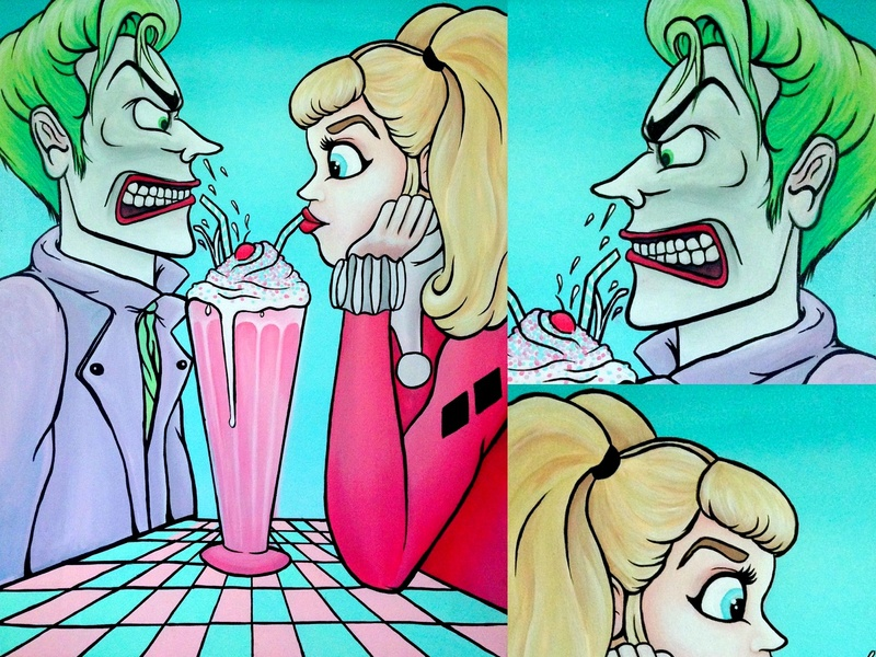Mr. J on a Date spooky pompadour weekly challenge weekly warm-up halloween rockabilly pink pastel retro fifties 50s batman dc comics harley quinn joker movie joker acrylic paint acrylic paint painting