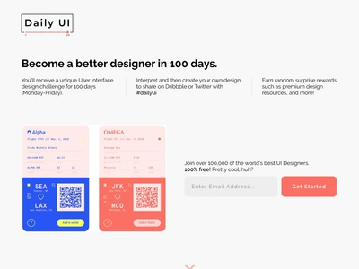 Daily UI 100: Redesign Daily UI Landing Page