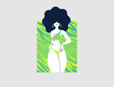 Lana illustrator girl character green texture afro tiger africa woman sexy girl character cartoon blue gradient graphic design color illustration vector