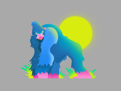 Gorilla dribbble cartoon gradient design color characterdesign animal vector illustration design illustration gorilla
