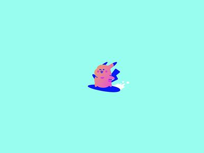Surfing Pikachu motion graphics surf videogames gameboy ui branding logo cartoon gradient graphic color illustration illu design vector pokemon animation pikachu