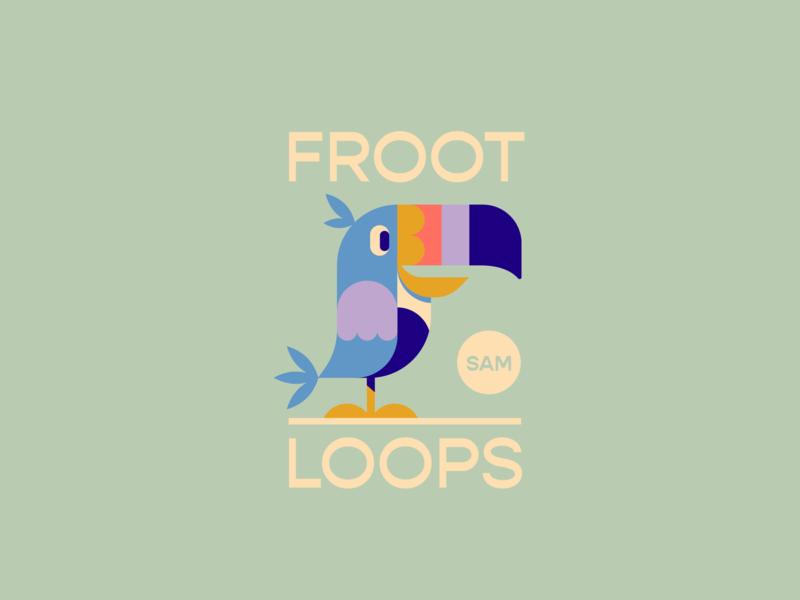 FROOT LOOPS green blue bird graphic cartoon bagde ceral kellogs sam