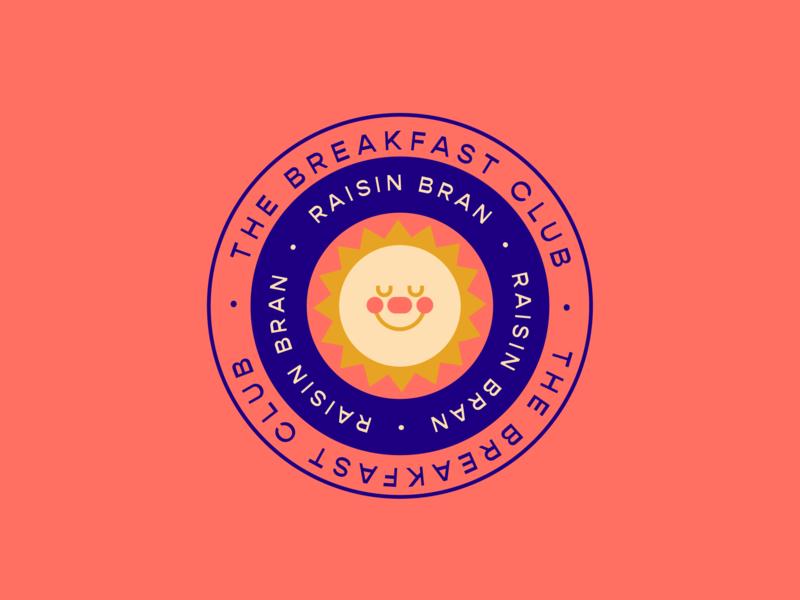 Raisin Bran Stark character orange sun cereal kellogs typography color badge illustration design vector
