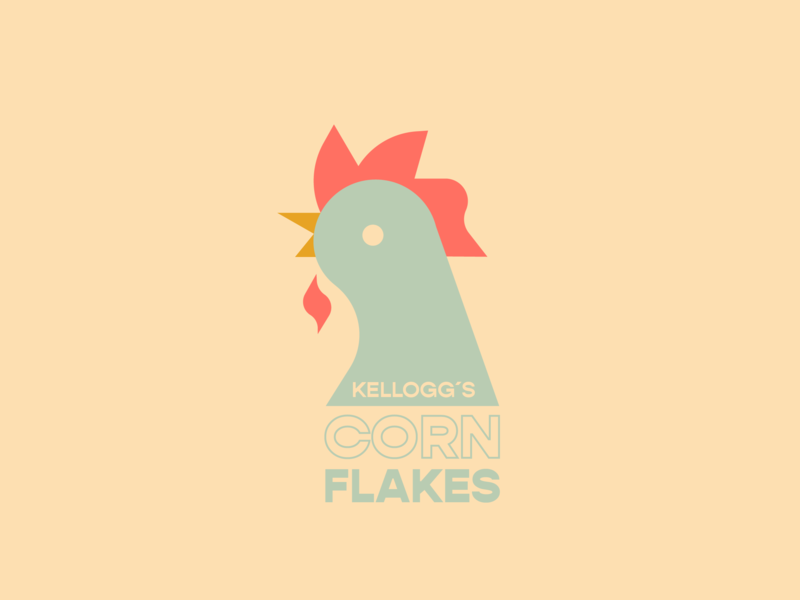 Corn Flakes cornflakes breakfast rooster kelloggs typography graphic logo color badge blue design illustration vector