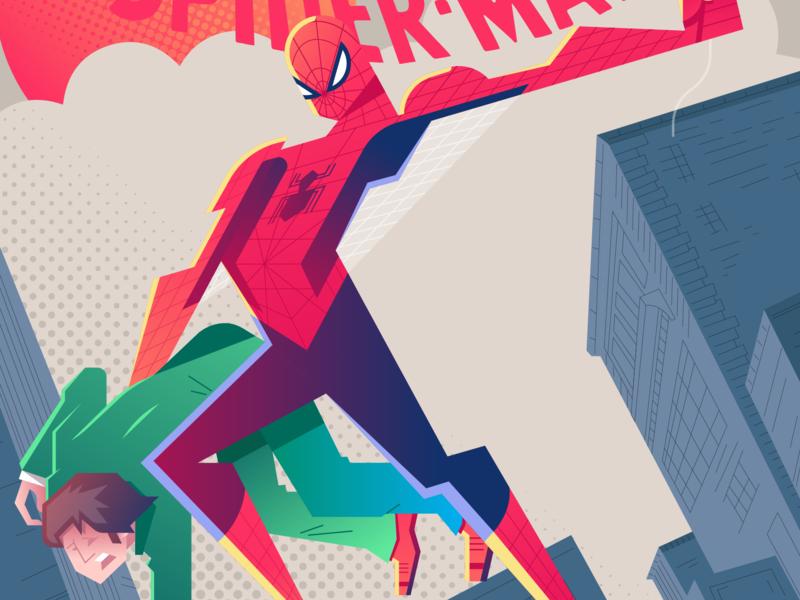 Spiderman new york city comic red amazing spidey spiderman blue graphic cartoon gradient color illustration design vector