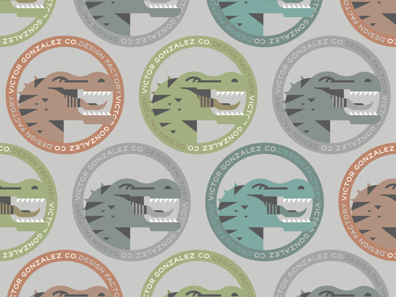 VICTOR GONZALEZ CO. / ROAR!! 🦖 trex rex designer graphic design green movies logo cartoon badge gradient color illustration graphic design vector