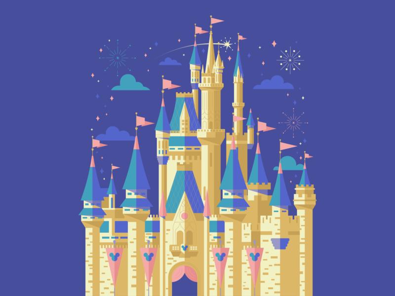 Disneyland disney princess disneyworld disney art poster purple magic castle mickeymouse disney movies cartoon gradient graphic blue color illustration design vector
