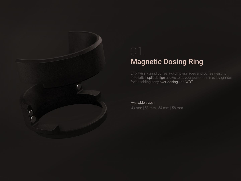 Magnetic dosing ring marketing 3d model product design product espresso landing page landing fosing ring funnel gold coffee black dark 3d render design 3d dosing ring magnetic
