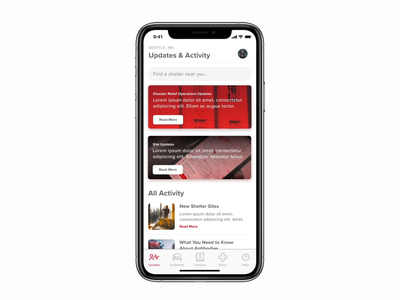Red Cross Mobile App prototype hi res covid-19 covid 2020 progressive web app native android ios dashboard newsfeed figma animation ux ui
