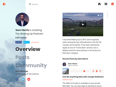 Patreon Redesign Concept sketch @dailyui podcast media social home concept patreon profile user dailyui 2018