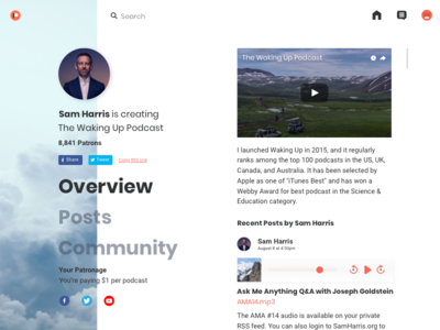 Patreon Redesign Concept