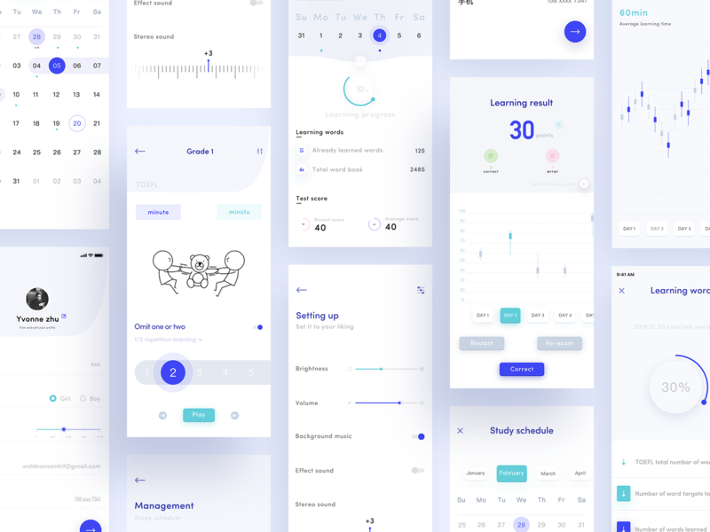 Language learning iOS app purple material material design card interface app ux ui clean design