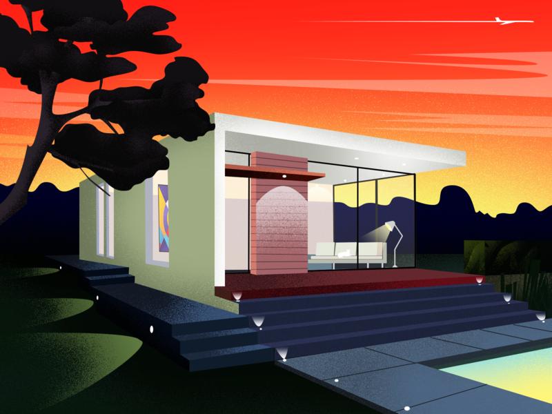 Rose sunset-illustration villa sunset art illustration clean design
