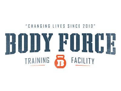 Body Force logo kettlebell body force sean costik projekt inc. fitness workout b f logo logotype