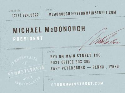 Eye on Main Street business card business card eye on main street sean costik projekt inc. blue typography signature