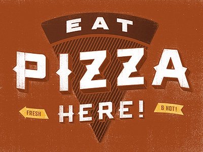 Eat (even more) Pizza Here! red typography logo signage vintage retro pizza arrows sean costik projekt projekt inc. piazza piazza 17