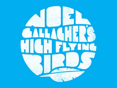 Noel Gallagher's High Flying Birds oasis sixties typography circle logo blue feather high flying birds noel gallagher