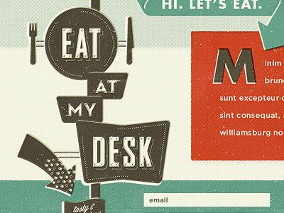 Eat At My Desk logo signage vintage sign halftone screen website fork knife arrow red teal desk sean costik eat at my desk projekt inc. eat projekt lunch