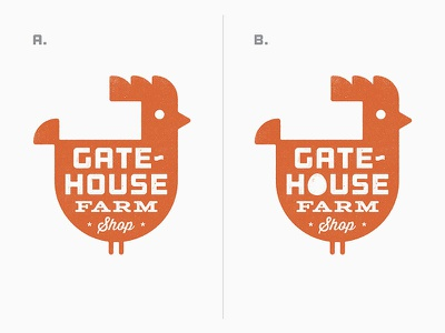Gatehouse - A or B? gatehouse farm chicken hen logo design shop logo sean costik projekt inc.
