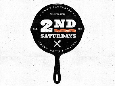 2nd Saturdays bacon cast iron skillet skillet logo typography texture black pan breakfast prayer scripture fork knife gritty seal logo second saturday 2nd saturday projekt projekt inc. sean costik church of the saviour second saturdays 2nd saturdays
