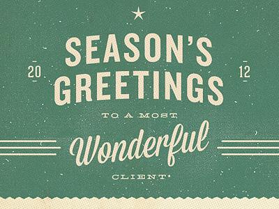 Season's Greetings typography green holiday christmas star retro projekt sean costik wonderful inc. seasons greetings