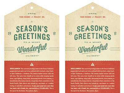Season's Greetings #2 hangtag christmas typography star retro disclaimer sean costik projekt projekt inc. seasons greetings wonderful