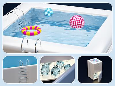 The pool refrigerator_Delicate rebranding 3d art