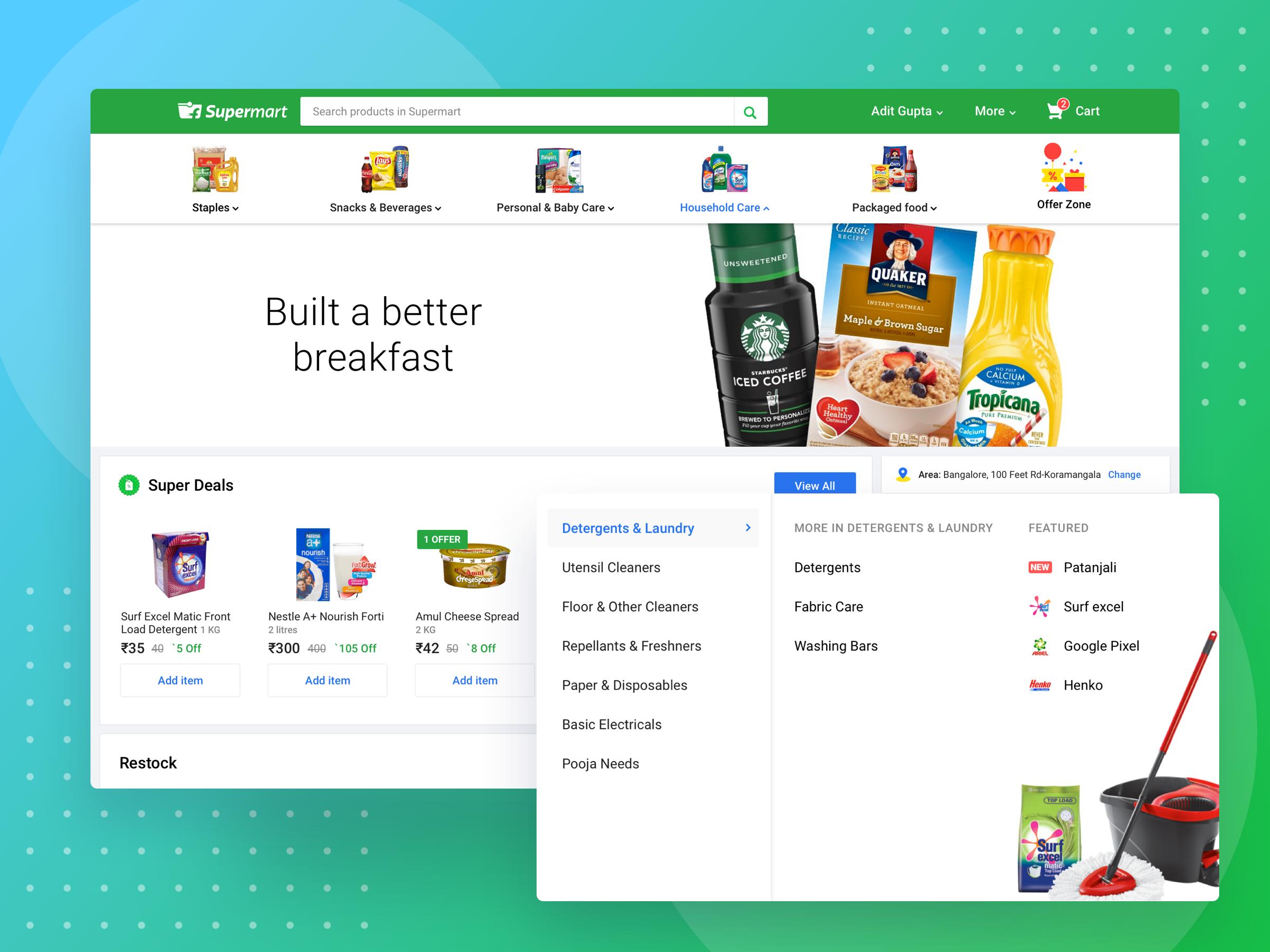 Supermart homepage desktop attachment
