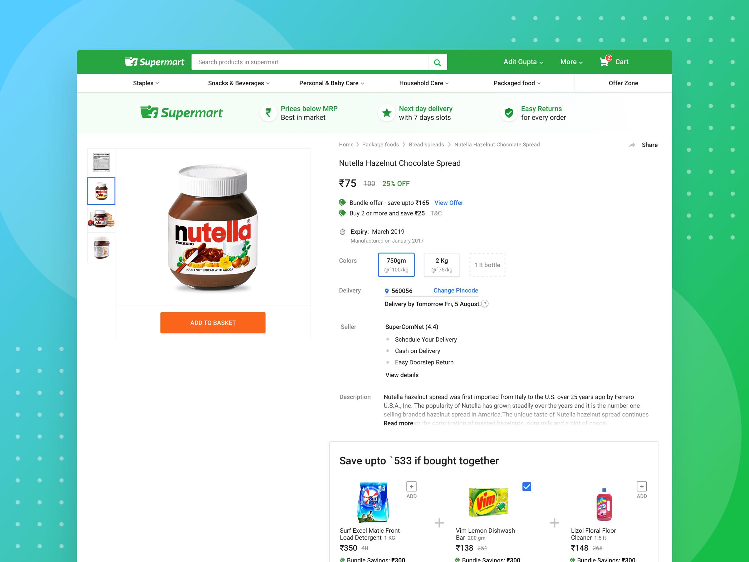 Supermart product page desktop attachment
