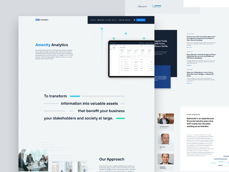 Amenity Analytics - About Us Page dashboard website nlp iot machine learning webflow saas b2b startup finance finance website fintech startup fintech landing page finctech website