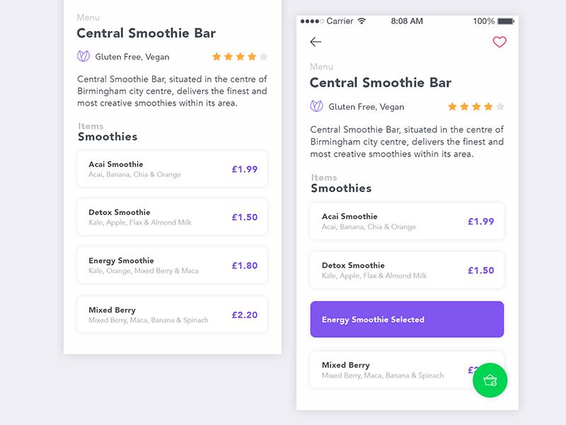 Menu Selection dailyui flat experience design product interaction interface user app ios ux ui