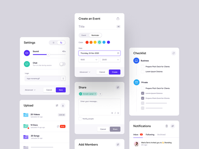 Cards - White UI popup modal slider input event app web dashboard share checklist to do picker design system upload notifications tasks settings calendar ux ui