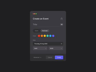 📅 Meeting Modal Creator schedule dark application productdesign interface color desktop popover modal popup creator dashboard date picker event reminder calendar meeting ux ui